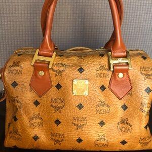 Authentic MCM Heritage Boston Bag Cognac Brown